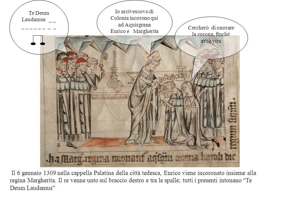 Ad Aquisgrana il conte Palatino Rodolfo annuncia a tutti lelezione e pone sullaltare Arrigo.