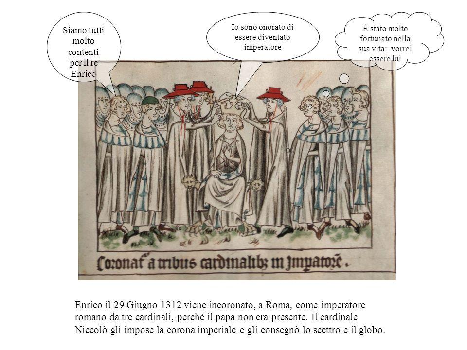 Enrico prosegue il suo viaggio in Italia e nella città di S.Ambrogio a Milano, il giorno dei tre re, viene incoronato con una corona di ferro fatta fare da lui in ricordo di quella di Carlo Magno.
