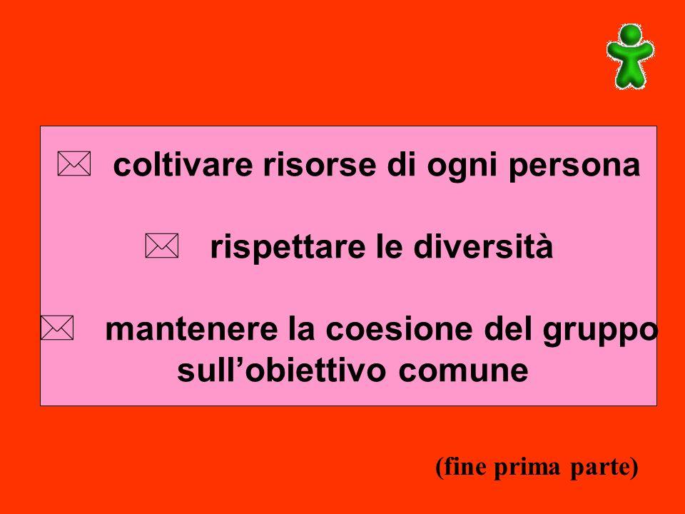 * coltivare risorse di ogni persona * rispettare le diversità * mantenere la coesione del gruppo sullobiettivo comune (fine prima parte)