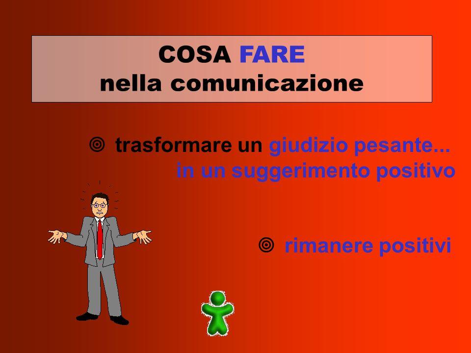 ¥ trasformare un giudizio pesante... in un suggerimento positivo rimanere positivi COSA FARE nella comunicazione