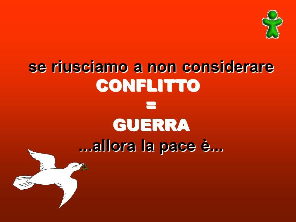 se riusciamo a non considerare CONFLITTO = GUERRA...allora la pace è... se riusciamo a non considerare CONFLITTO = GUERRA...allora la pace è...
