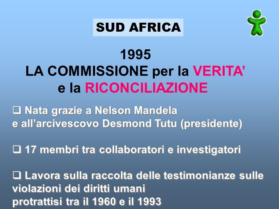SUD AFRICA 1995 LA COMMISSIONE per la VERITA e la RICONCILIAZIONE Nata grazie a Nelson Mandela e allarcivescovo Desmond Tutu (presidente) 17 membri tr