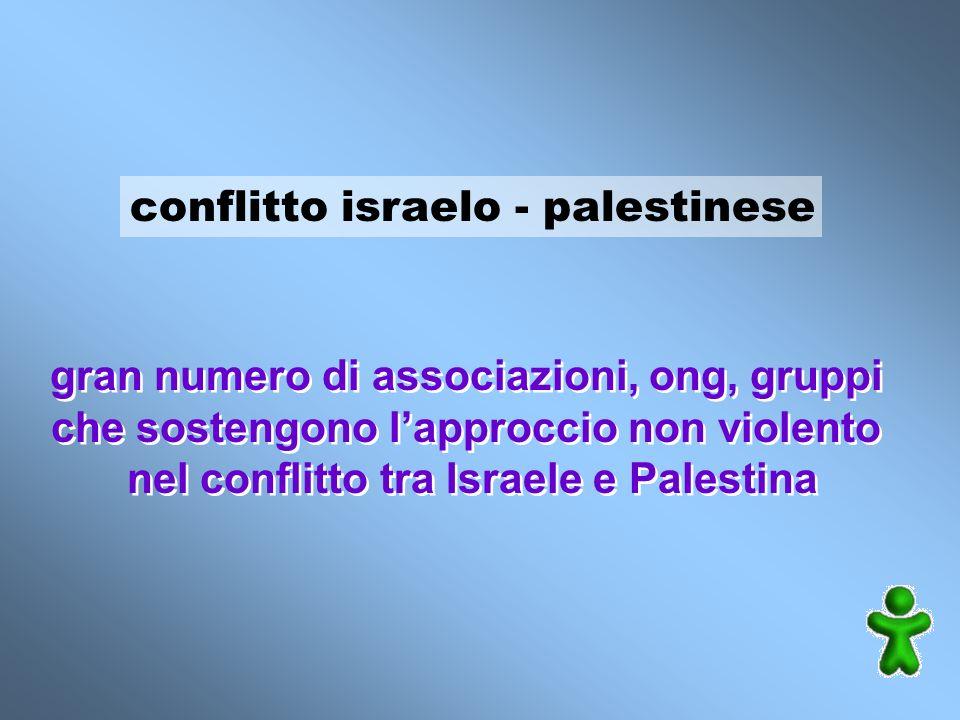 conflitto israelo - palestinese gran numero di associazioni, ong, gruppi che sostengono lapproccio non violento nel conflitto tra Israele e Palestina