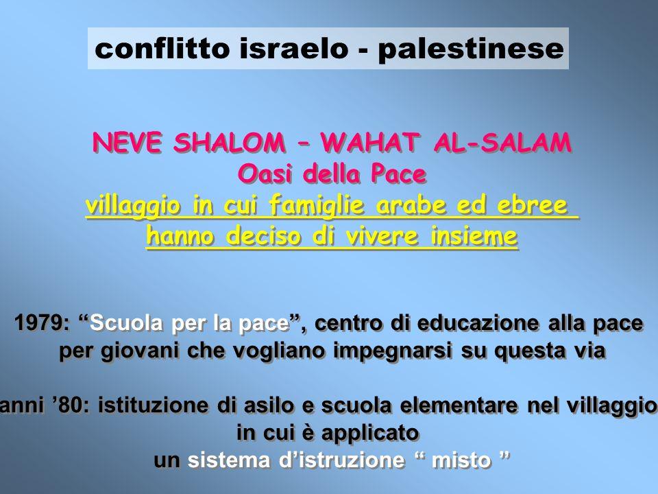conflitto israelo - palestinese NEVE SHALOM – WAHAT AL-SALAM Oasi della Pace villaggio in cui famiglie arabe ed ebree hanno deciso di vivere insieme 1