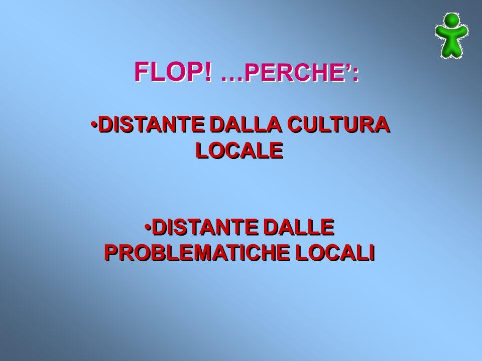 FLOP! …PERCHE: DISTANTE DALLA CULTURA LOCALE DISTANTE DALLE PROBLEMATICHE LOCALI DISTANTE DALLA CULTURA LOCALE DISTANTE DALLE PROBLEMATICHE LOCALI