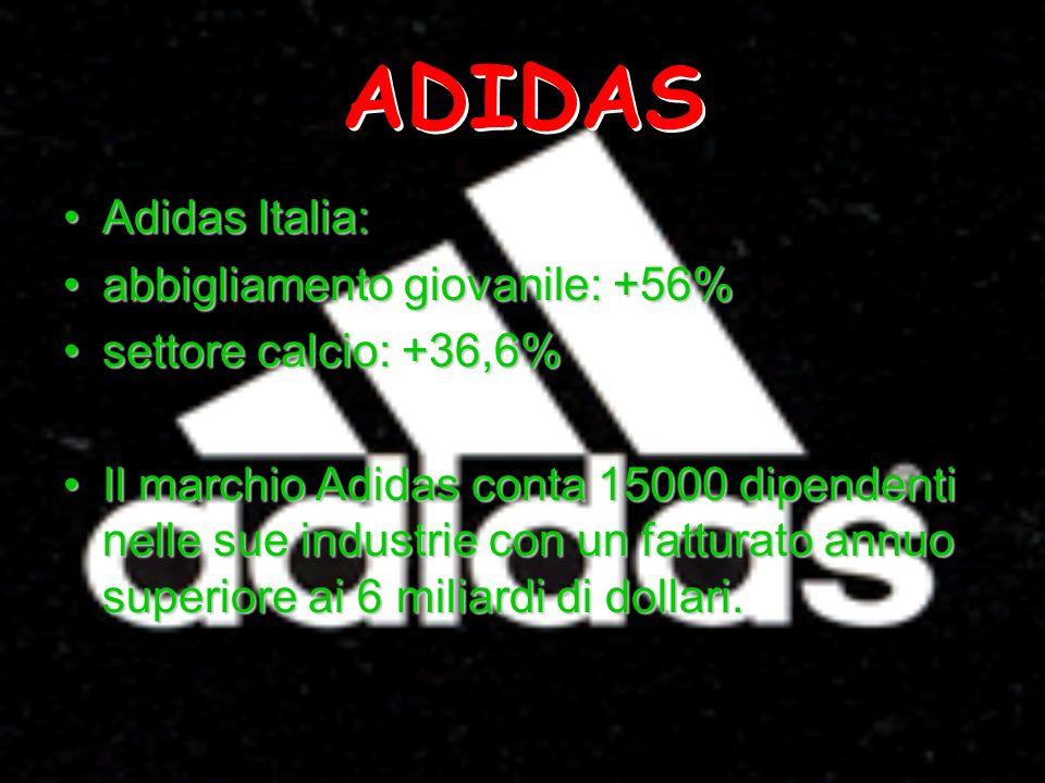 ADIDAS Adidas Italia:Adidas Italia: abbigliamento giovanile: +56%abbigliamento giovanile: +56% settore calcio: +36,6%settore calcio: +36,6% Il marchio