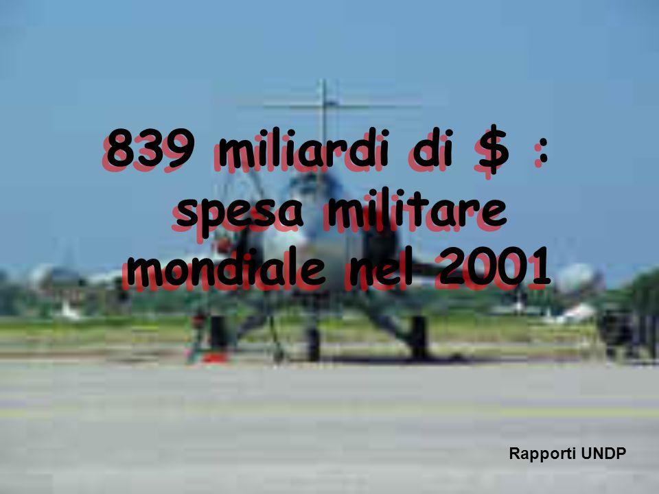 Rapporti UNDP 839 miliardi di $ : spesa militare mondiale nel 2001