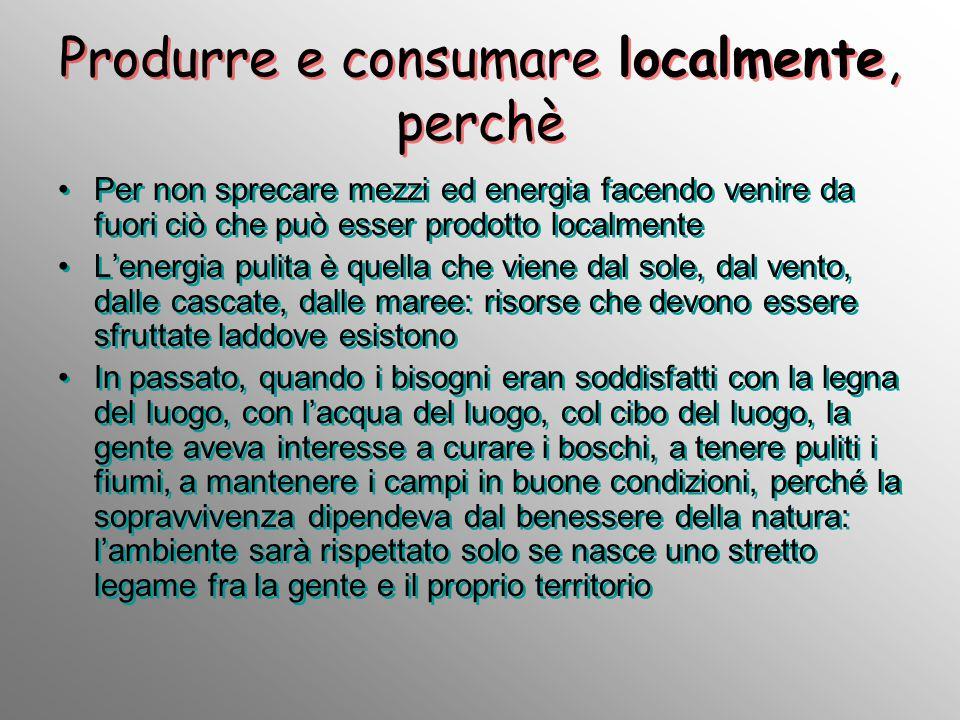 Produrre e consumare localmente, perchè Per non sprecare mezzi ed energia facendo venire da fuori ciò che può esser prodotto localmente Lenergia pulit