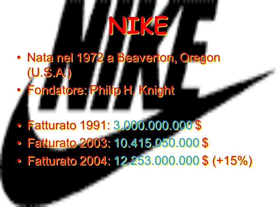 NIKE Nata nel 1972 a Beaverton, Oregon (U.S.A.) Fondatore: Philip H. Knight Fatturato 1991: 3.000.000.000 $ Fatturato 2003: 10.415.050.000 $ Fatturato