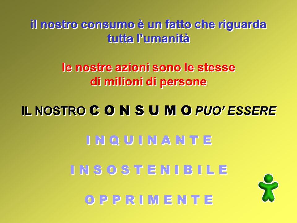 il nostro consumo è un fatto che riguarda tutta lumanità le nostre azioni sono le stesse di milioni di persone IL NOSTRO C O N S U M O PUO ESSERE I N Q U I N A N T E I N S O S T E N I B I L E O P P R I M E N T E il nostro consumo è un fatto che riguarda tutta lumanità le nostre azioni sono le stesse di milioni di persone IL NOSTRO C O N S U M O PUO ESSERE I N Q U I N A N T E I N S O S T E N I B I L E O P P R I M E N T E
