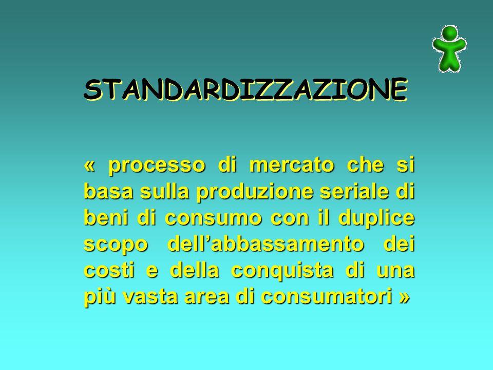 STANDARDIZZAZIONE « processo di mercato che si basa sulla produzione seriale di beni di consumo con il duplice scopo dellabbassamento dei costi e della conquista di una più vasta area di consumatori »