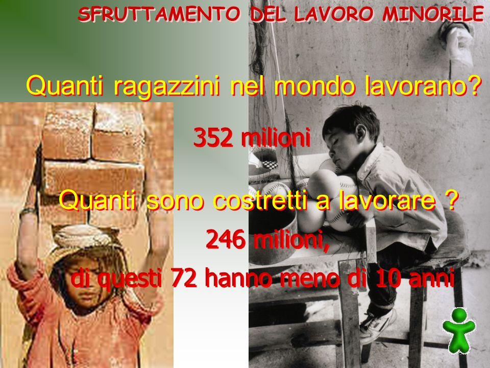 di questi 72 hanno meno di 10 anni SFRUTTAMENTO DEL LAVORO MINORILE Quanti ragazzini nel mondo lavorano? Quanti sono costretti a lavorare ? 246 milion