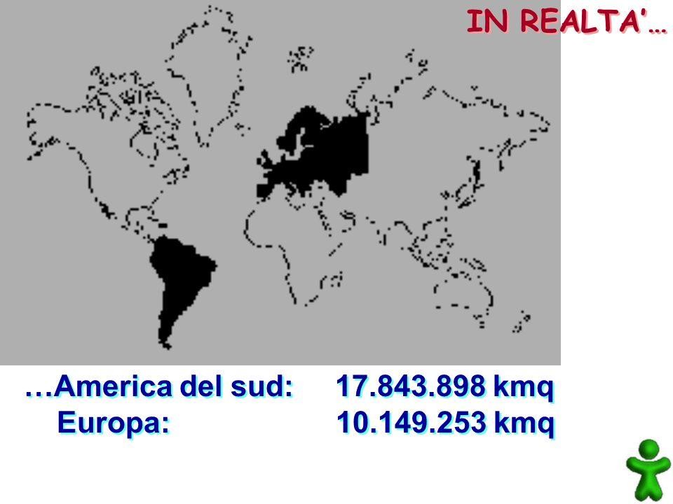 …America del sud: 17.843.898 kmq Europa: 10.149.253 kmq …America del sud: 17.843.898 kmq Europa: 10.149.253 kmq IN REALTA…