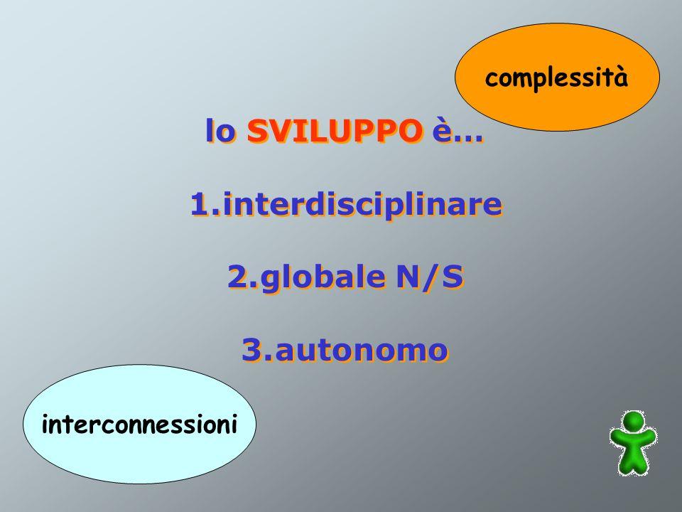 lo SVILUPPO è… 1.interdisciplinare 2.globale N/S 3.autonomo lo SVILUPPO è… 1.interdisciplinare 2.globale N/S 3.autonomo interconnessioni complessità