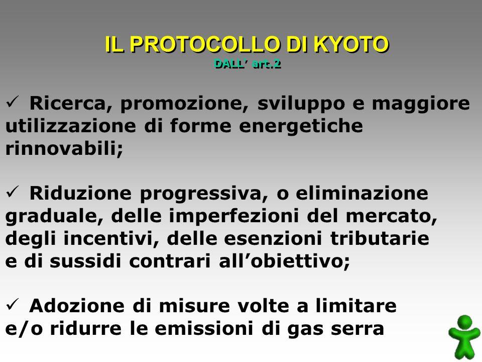 Ricerca, promozione, sviluppo e maggiore utilizzazione di forme energetiche rinnovabili; Riduzione progressiva, o eliminazione graduale, delle imperfezioni del mercato, degli incentivi, delle esenzioni tributarie e di sussidi contrari allobiettivo; Adozione di misure volte a limitare e/o ridurre le emissioni di gas serra IL PROTOCOLLO DI KYOTO DALL art.2 IL PROTOCOLLO DI KYOTO DALL art.2