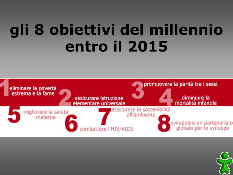 gli 8 obiettivi del millennio entro il 2015