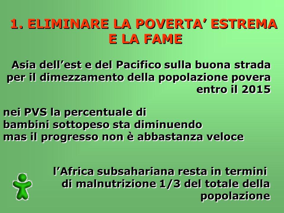 1. ELIMINARE LA POVERTA ESTREMA E LA FAME 1.