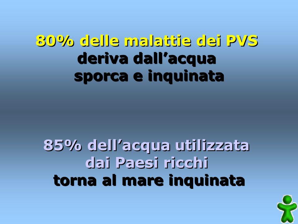 80% delle malattie dei PVS deriva dallacqua sporca e inquinata 85% dellacqua utilizzata dai Paesi ricchi torna al mare inquinata 80% delle malattie dei PVS deriva dallacqua sporca e inquinata 85% dellacqua utilizzata dai Paesi ricchi torna al mare inquinata