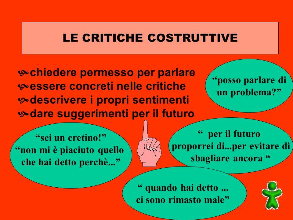 LE CRITICHE COSTRUTTIVE chiedere permesso per parlare essere concreti nelle critiche descrivere i propri sentimenti dare suggerimenti per il futuro po
