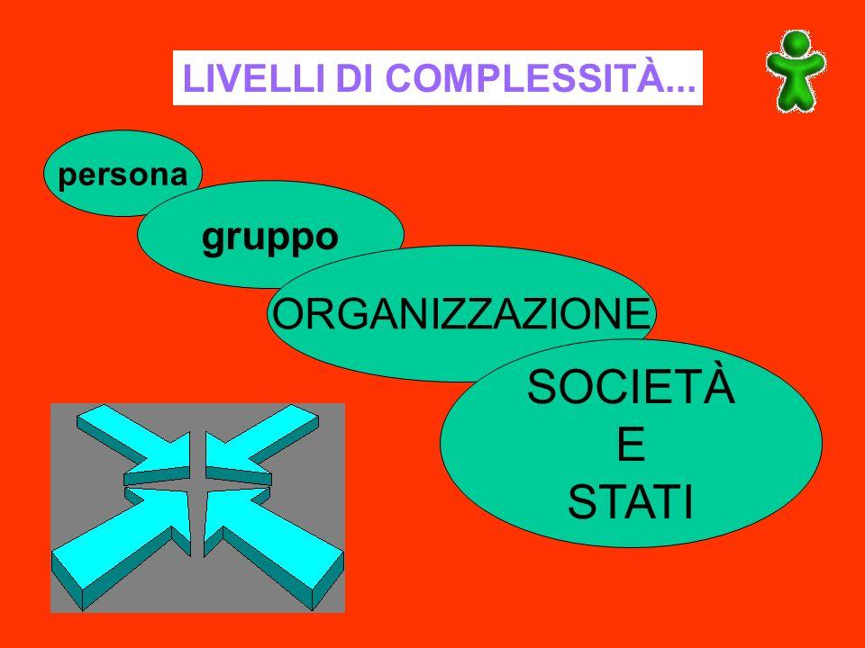 LIVELLI DI COMPLESSITÀ... persona gruppo ORGANIZZAZIONE SOCIETÀ E STATI