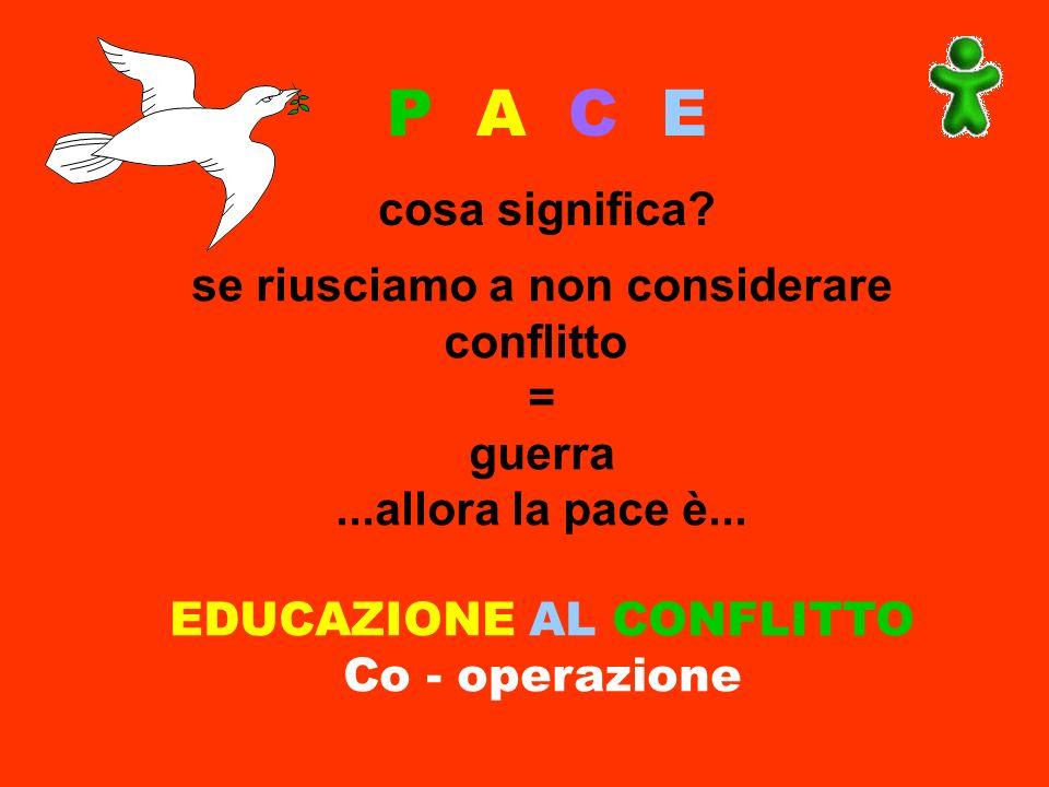 P A C E cosa significa? se riusciamo a non considerare conflitto = guerra...allora la pace è... EDUCAZIONE AL CONFLITTO Co - operazione