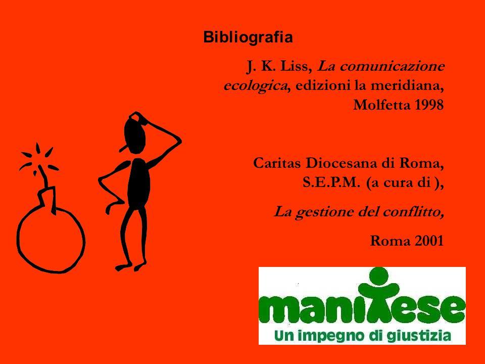 Bibliografia J. K. Liss, La comunicazione ecologica, edizioni la meridiana, Molfetta 1998 Caritas Diocesana di Roma, S.E.P.M. (a cura di ), La gestion