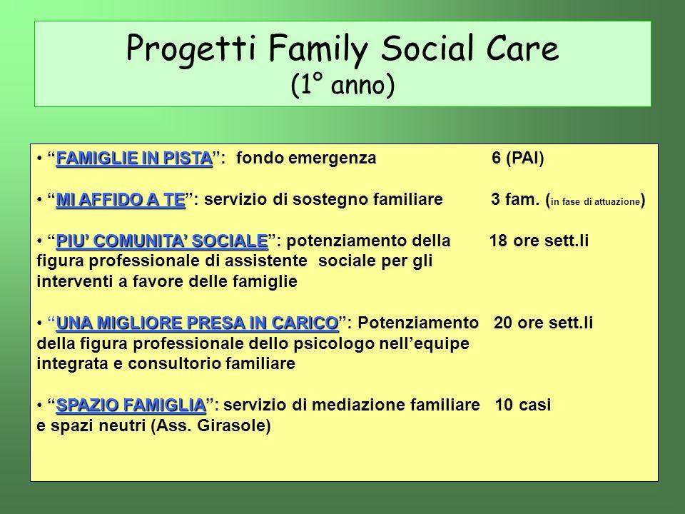 Progetti Family Social Care (1° anno) FAMIGLIE IN PISTA FAMIGLIE IN PISTA: fondo emergenza 6 (PAI) MI AFFIDO A TE MI AFFIDO A TE: servizio di sostegno
