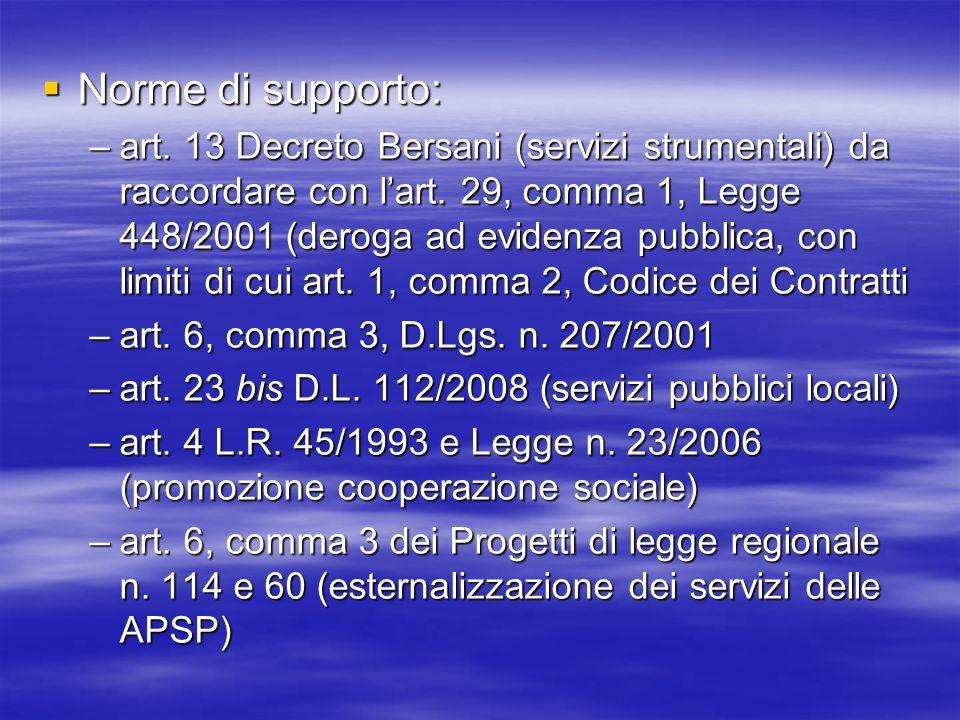 Norme di supporto: Norme di supporto: –art. 13 Decreto Bersani (servizi strumentali) da raccordare con lart. 29, comma 1, Legge 448/2001 (deroga ad ev