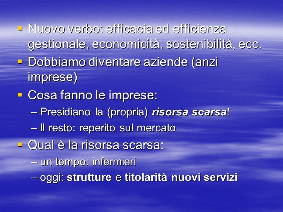 Nuovo verbo: efficacia ed efficienza gestionale, economicità, sostenibilità, ecc.