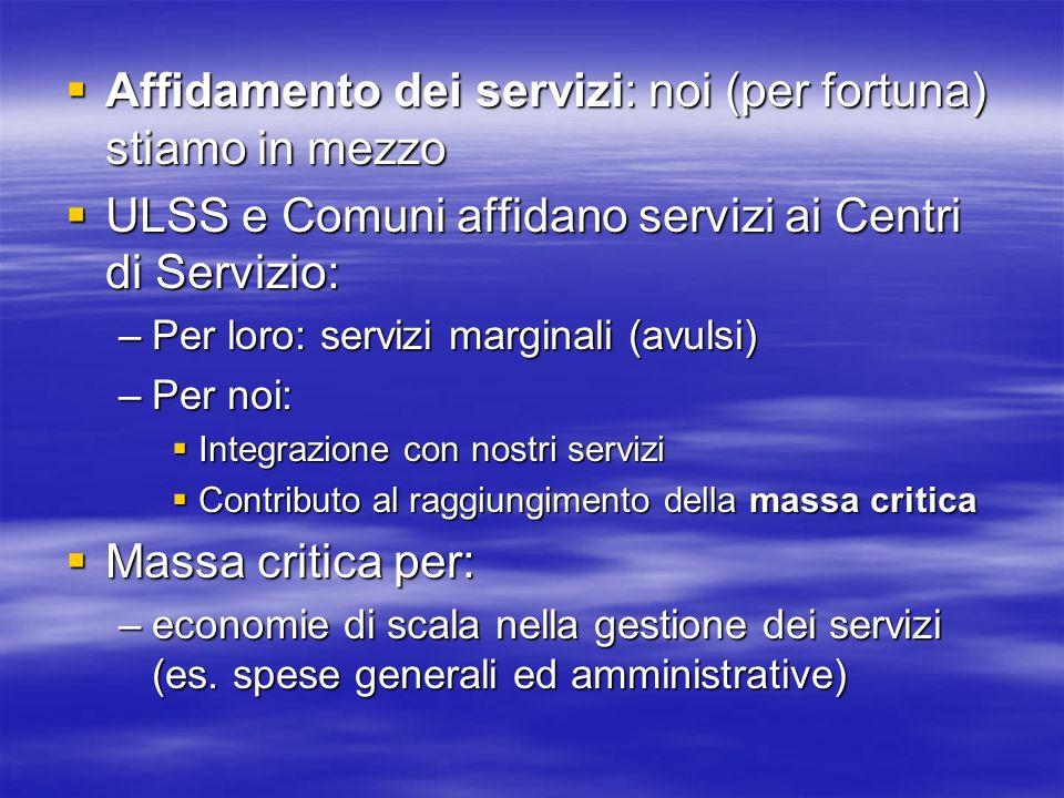 Affidamento dei servizi: noi (per fortuna) stiamo in mezzo Affidamento dei servizi: noi (per fortuna) stiamo in mezzo ULSS e Comuni affidano servizi a