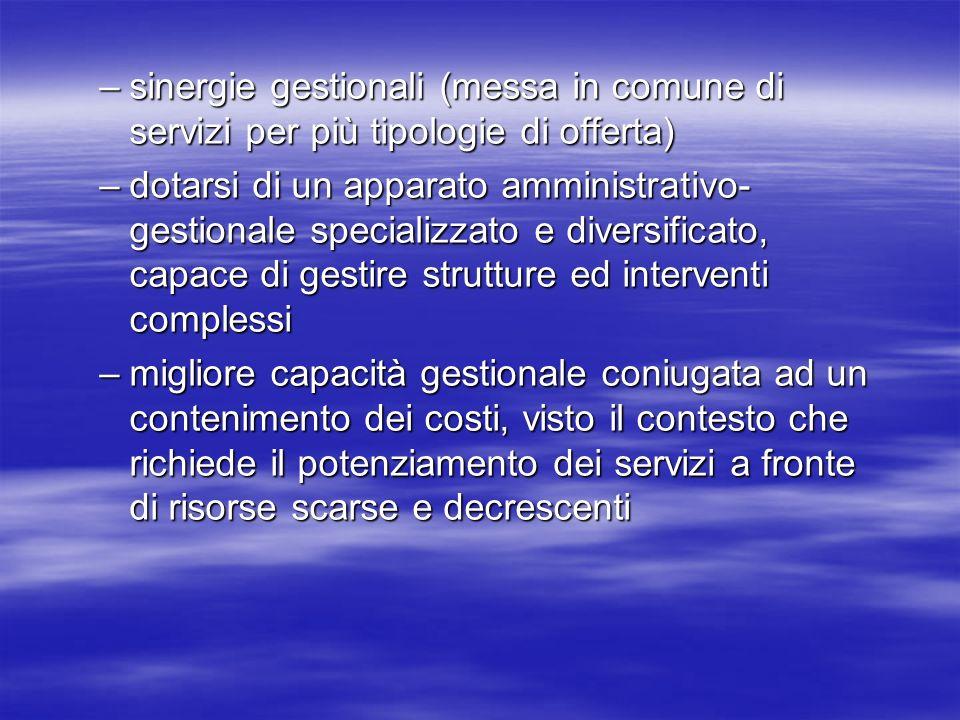 –sinergie gestionali (messa in comune di servizi per più tipologie di offerta) –dotarsi di un apparato amministrativo- gestionale specializzato e dive
