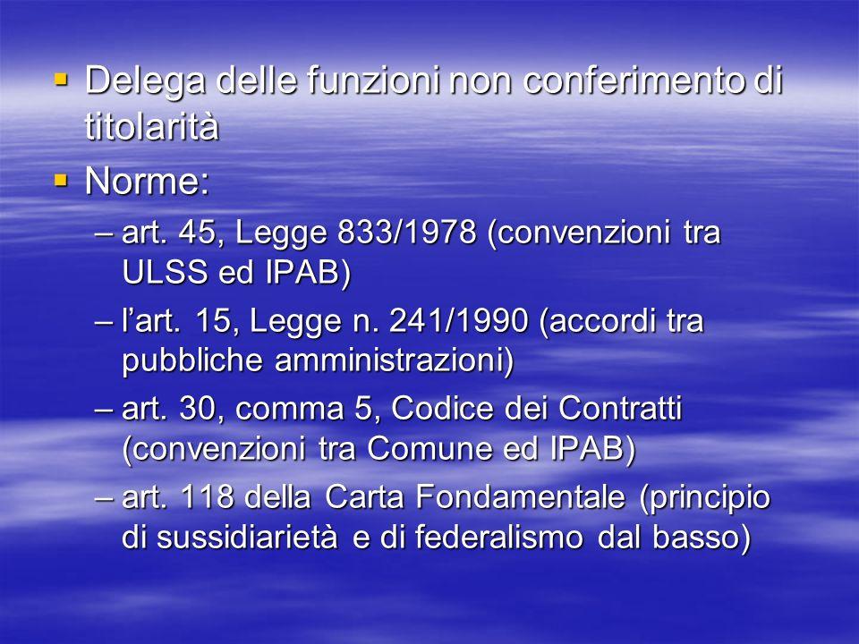 Delega delle funzioni non conferimento di titolarità Norme: –a–a–a–art.