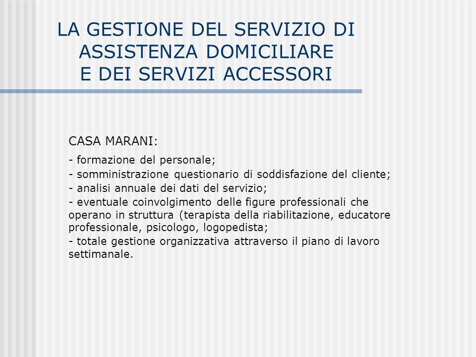 LA GESTIONE DEL SERVIZIO DI ASSISTENZA DOMICILIARE E DEI SERVIZI ACCESSORI CASA MARANI:  formazione del personale;  somministrazione questionario di