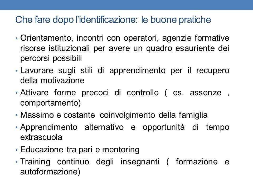 Che fare dopo lidentificazione: le buone pratiche Orientamento, incontri con operatori, agenzie formative risorse istituzionali per avere un quadro es