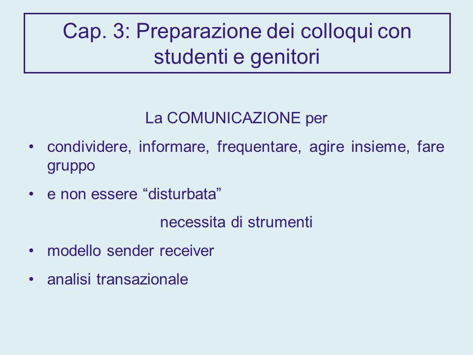 Cap. 3: Preparazione dei colloqui con studenti e genitori La COMUNICAZIONE per condividere, informare, frequentare, agire insieme, fare gruppo e non e