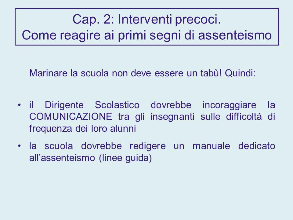 Cap. 2: Interventi precoci.
