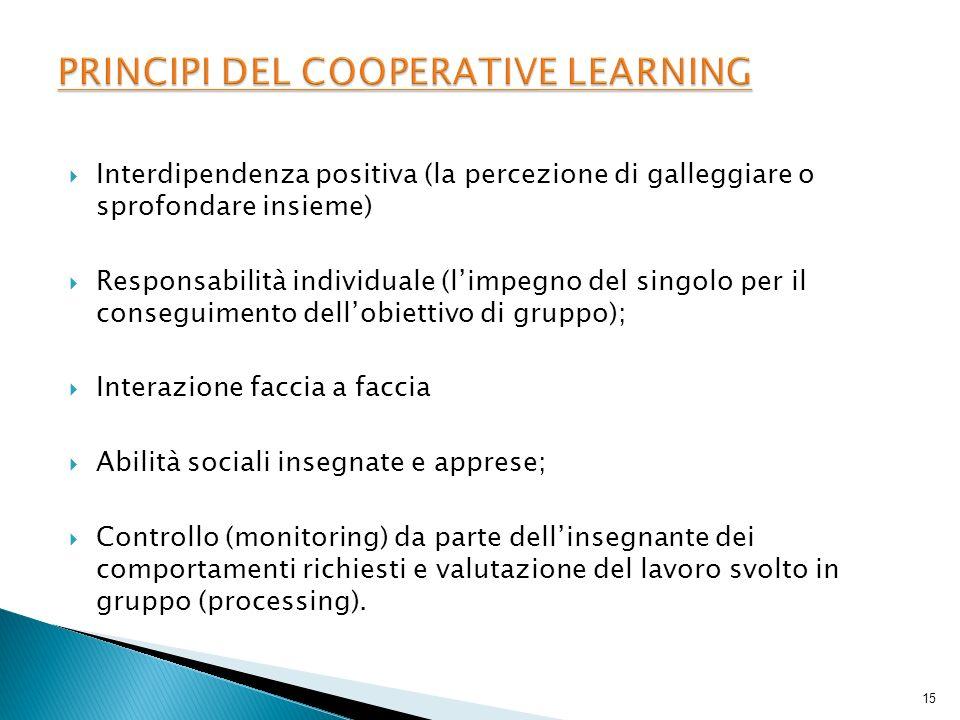 Interdipendenza positiva (la percezione di galleggiare o sprofondare insieme) Responsabilità individuale (limpegno del singolo per il conseguimento de