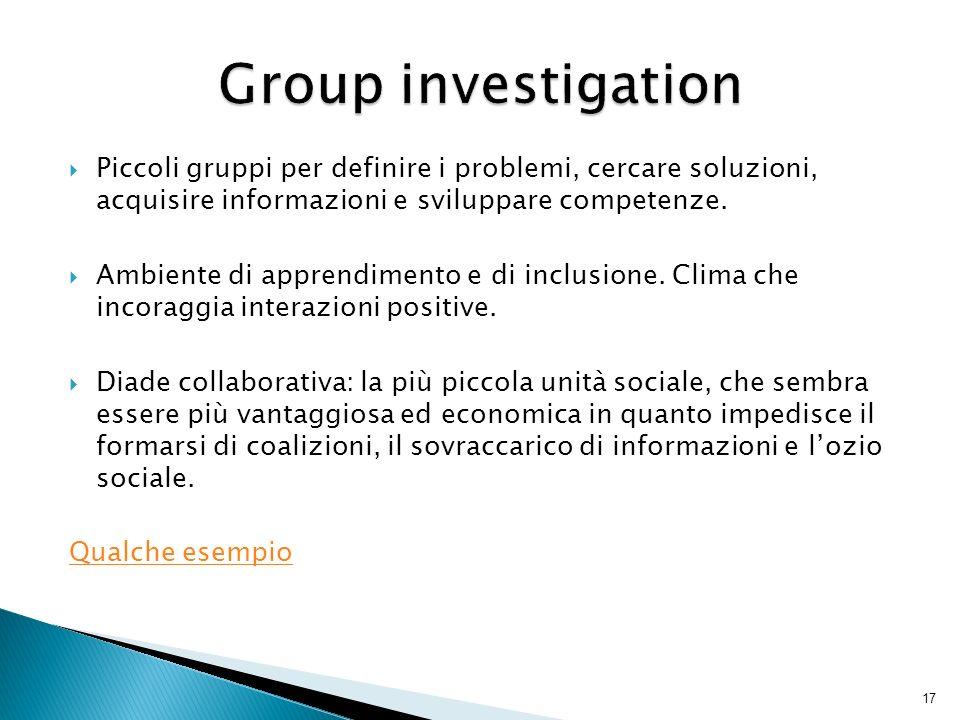 Piccoli gruppi per definire i problemi, cercare soluzioni, acquisire informazioni e sviluppare competenze. Ambiente di apprendimento e di inclusione.