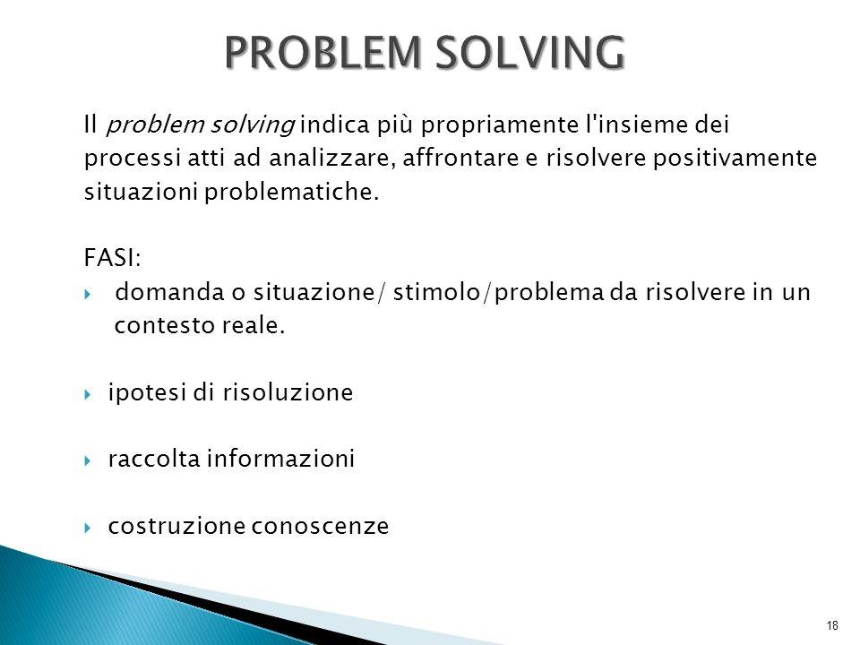 Il problem solving indica più propriamente l'insieme dei processi atti ad analizzare, affrontare e risolvere positivamente situazioni problematiche. F
