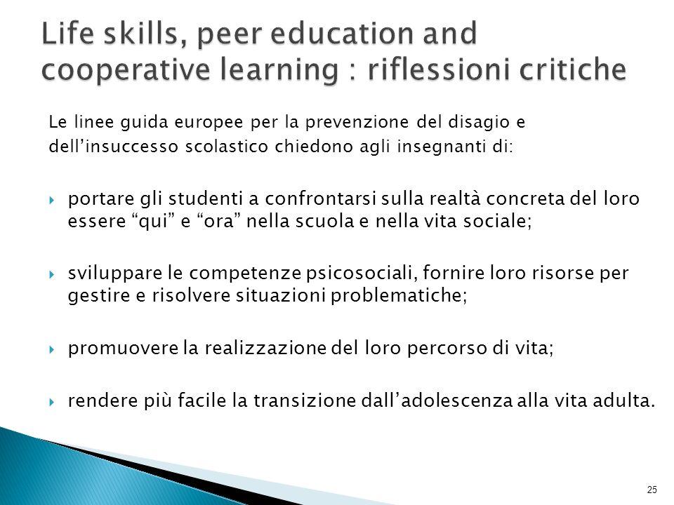 Le linee guida europee per la prevenzione del disagio e dellinsuccesso scolastico chiedono agli insegnanti di: portare gli studenti a confrontarsi sul
