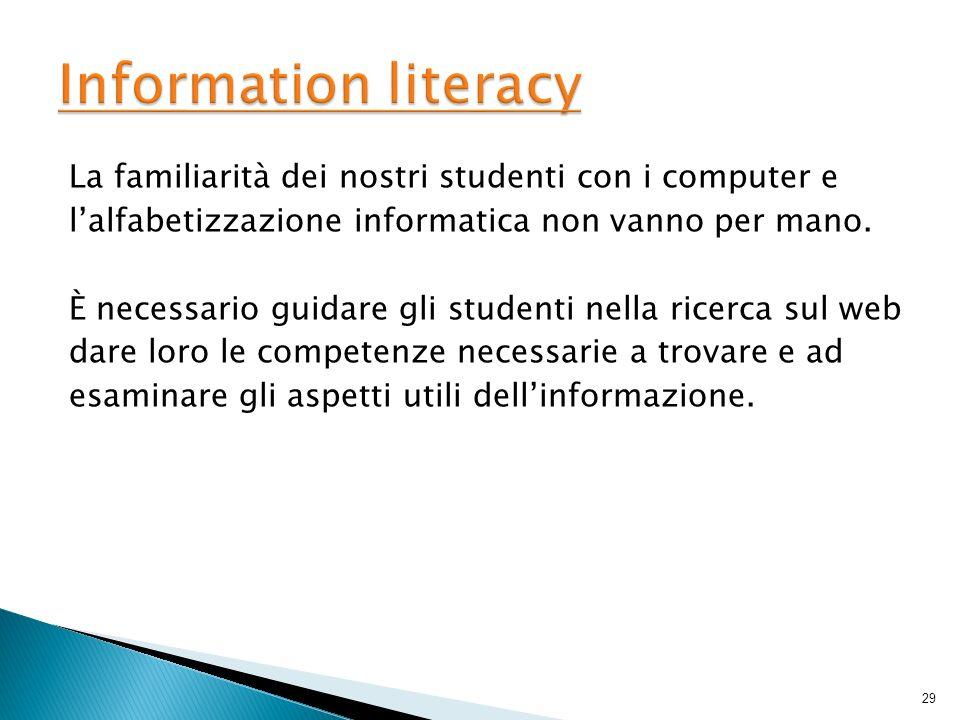 La familiarità dei nostri studenti con i computer e lalfabetizzazione informatica non vanno per mano. È necessario guidare gli studenti nella ricerca