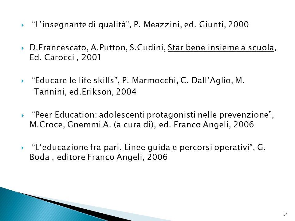 Linsegnante di qualità, P. Meazzini, ed. Giunti, 2000 D.Francescato, A.Putton, S.Cudini, Star bene insieme a scuola, Ed. Carocci, 2001 Educare le life
