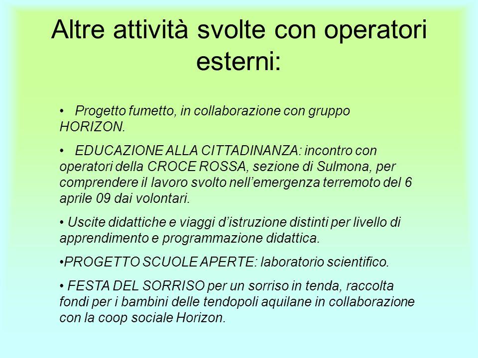 Altre attività svolte con operatori esterni: Progetto fumetto, in collaborazione con gruppo HORIZON.