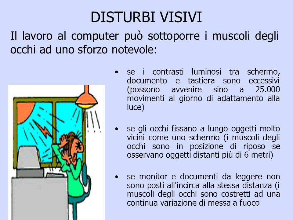 DISTURBI VISIVI se i contrasti luminosi tra schermo, documento e tastiera sono eccessivi (possono avvenire sino a 25.000 movimenti al giorno di adattamento alla luce) se gli occhi fissano a lungo oggetti molto vicini come uno schermo (i muscoli degli occhi sono in posizione di riposo se osservano oggetti distanti più di 6 metri) se monitor e documenti da leggere non sono posti all incirca alla stessa distanza (i muscoli degli occhi sono costretti ad una continua variazione di messa a fuoco Il lavoro al computer può sottoporre i muscoli degli occhi ad uno sforzo notevole: