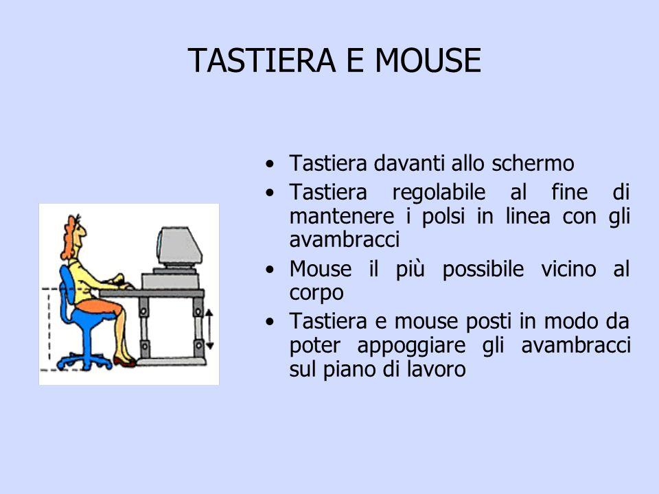 TASTIERA E MOUSE Tastiera davanti allo schermo Tastiera regolabile al fine di mantenere i polsi in linea con gli avambracci Mouse il più possibile vicino al corpo Tastiera e mouse posti in modo da poter appoggiare gli avambracci sul piano di lavoro