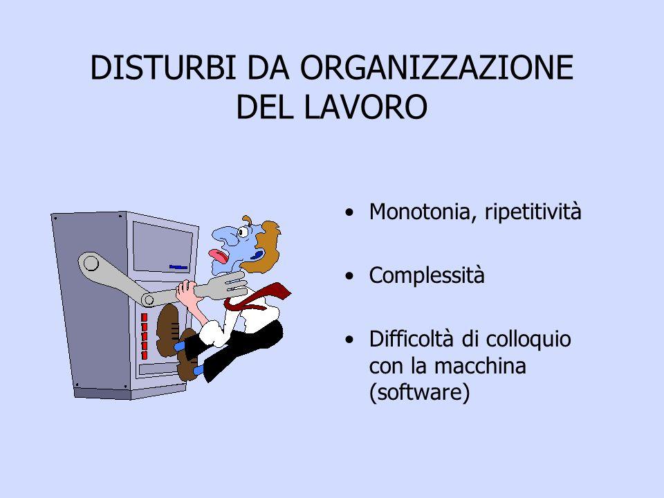DISTURBI DA ORGANIZZAZIONE DEL LAVORO Monotonia, ripetitività Complessità Difficoltà di colloquio con la macchina (software)