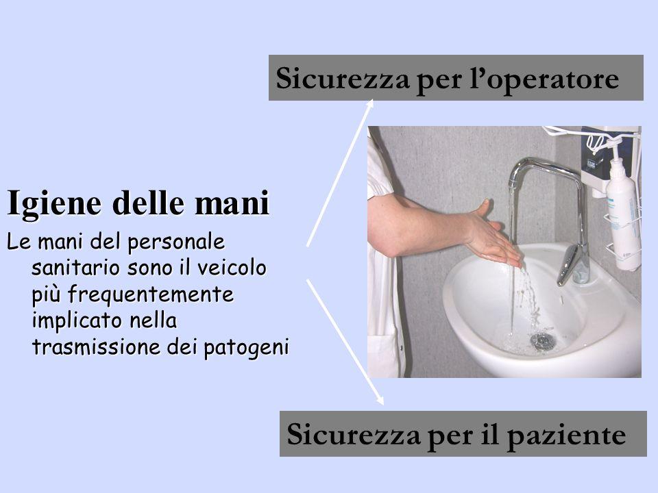 Igiene delle mani Le mani del personale sanitario sono il veicolo più frequentemente implicato nella trasmissione dei patogeni Sicurezza per loperatore Sicurezza per il paziente ?