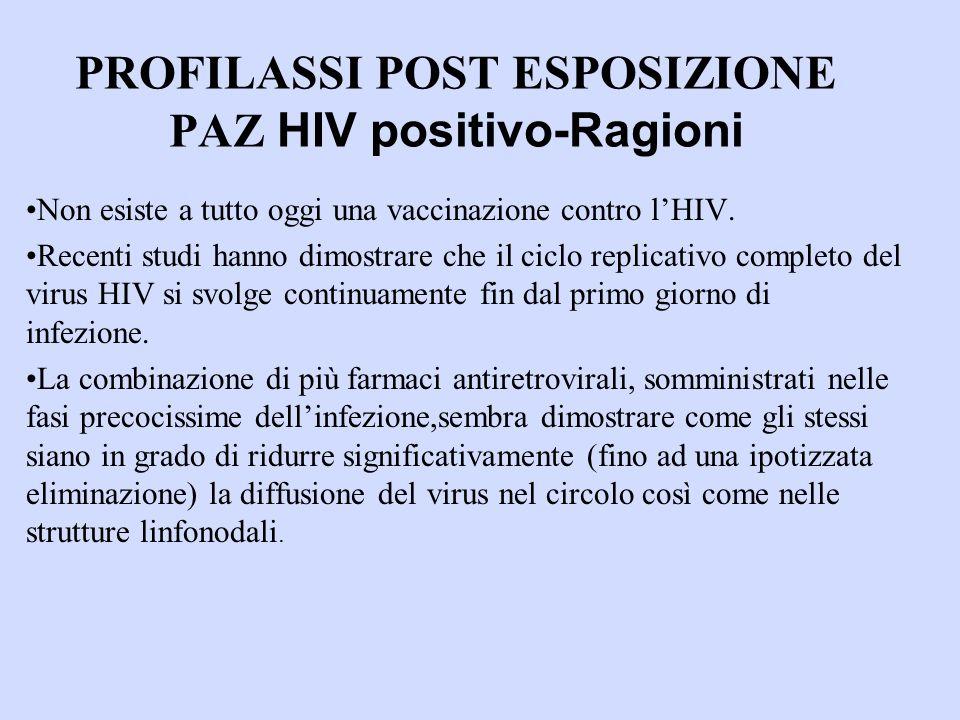 PROFILASSI POST ESPOSIZIONE PAZ HIV positivo-Ragioni Non esiste a tutto oggi una vaccinazione contro lHIV.