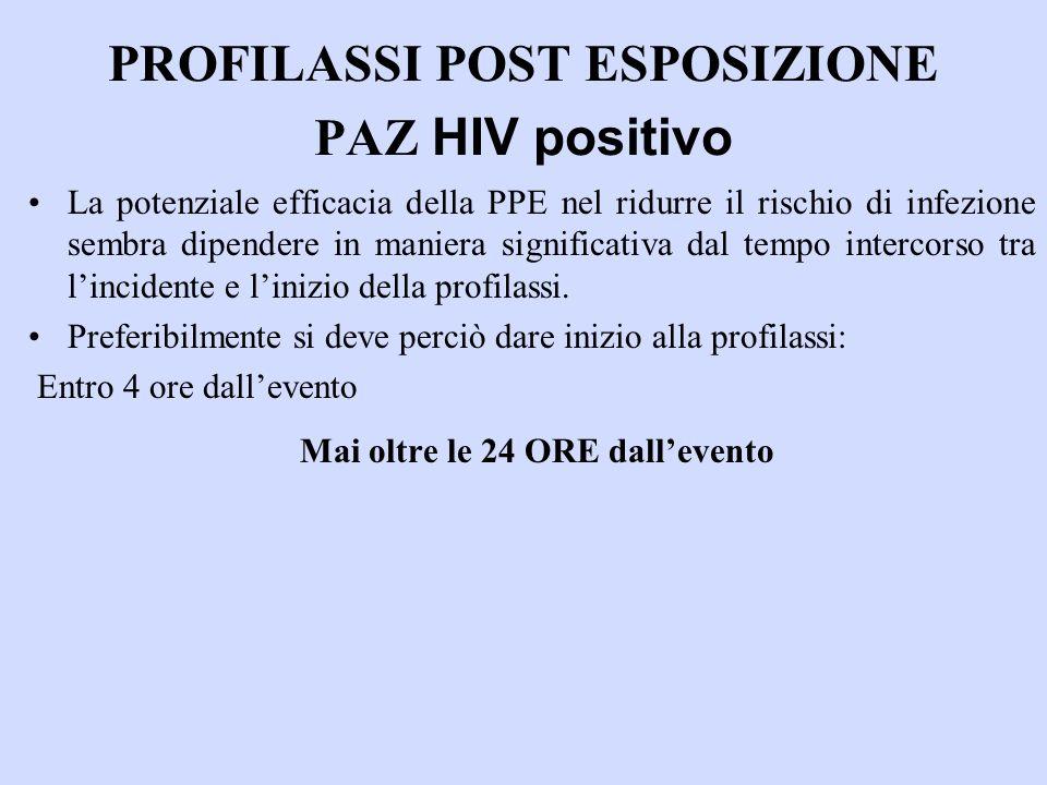 PROFILASSI POST ESPOSIZIONE PAZ HIV positivo La potenziale efficacia della PPE nel ridurre il rischio di infezione sembra dipendere in maniera significativa dal tempo intercorso tra lincidente e linizio della profilassi.
