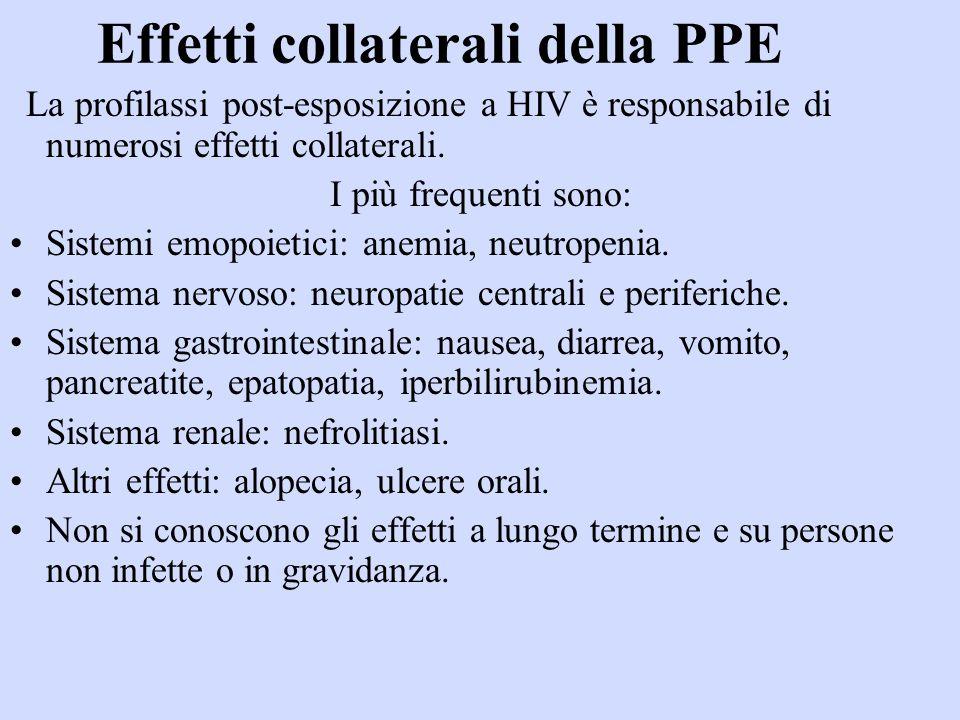 Effetti collaterali della PPE La profilassi post-esposizione a HIV è responsabile di numerosi effetti collaterali.